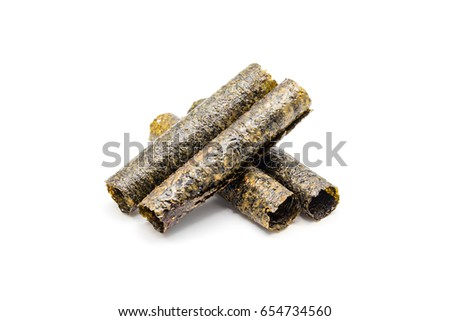 Roll of dried seaweed, Crispy seaweed isolated on white background.