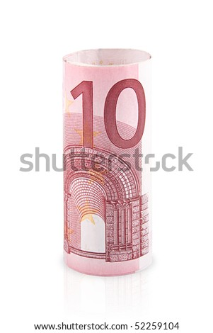 Roll of 10 euro isolated on a white background.