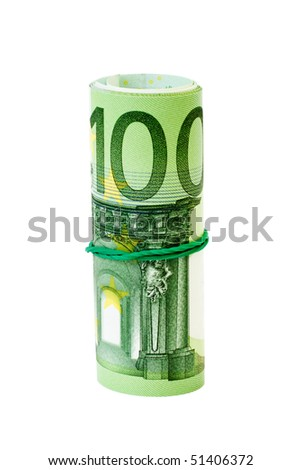 Roll of 100 Euro notes with an elastic band wrapped around.