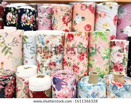 Roll of fabric, rose floral summer style print fabric cotton for making apparel, vintage floral fabric roll in textile business, fabric store supplier, material for clothing industry