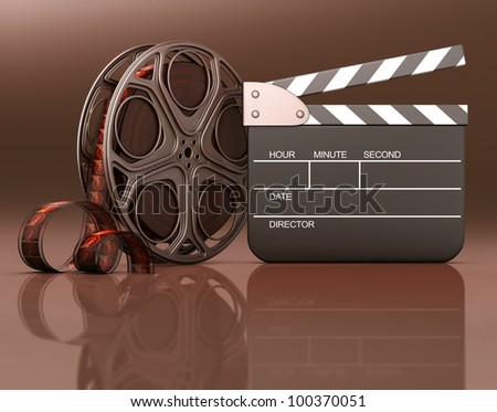 Roll of film with a clapboard beside. Your info on the black space of the clapboard or under the roll and clapboard on the reflection.