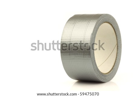 Roll of gaffer tape (duct tape) on a white background - stock photo