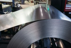 Roll of galvanized steel sheet. Close up view.