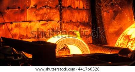Roll of hot metal on the conveyor belt Сток-фото ©