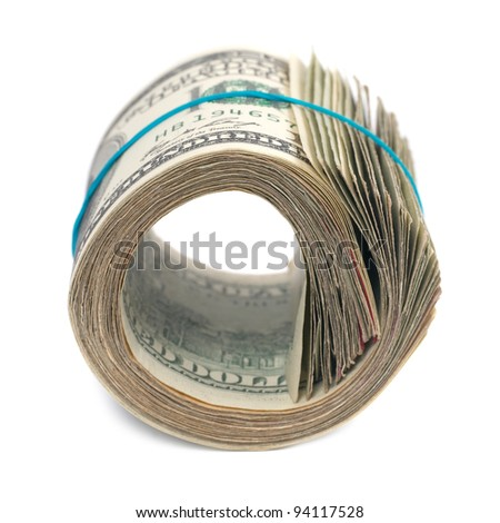 Roll of money- cash of US dollars isolated on white background