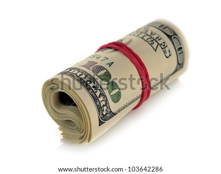 Roll of money isolated on white background