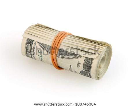 Roll of money isolated on white background with clipping path