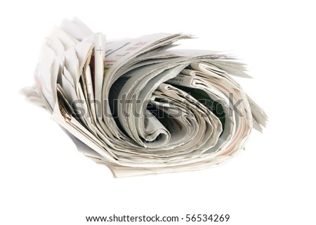Roll of newspapers, isolated on white background