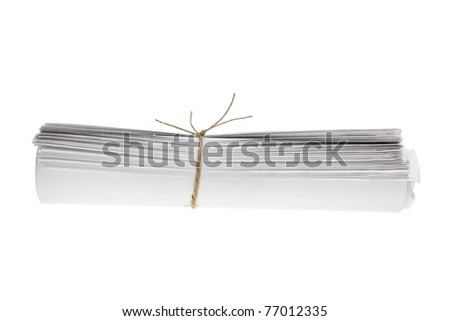 Roll of Newspapers on White Background