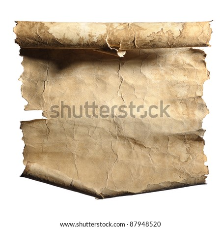 roll of old  paper with torn edges