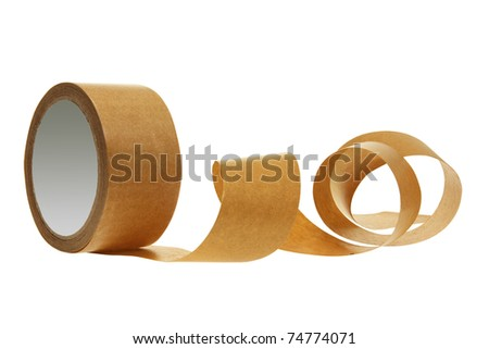 Roll of Packing Tape on White Background