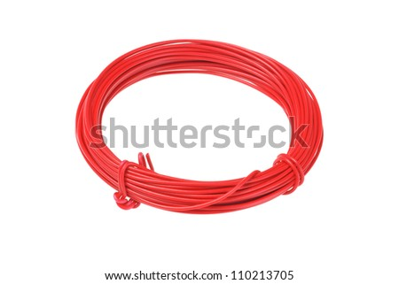 Roll of Red Wire on White Background