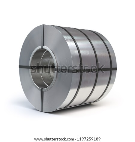 Roll of rolled steel sheet isolated on white background. Production, delivery and storage of metal products. 3d illustration