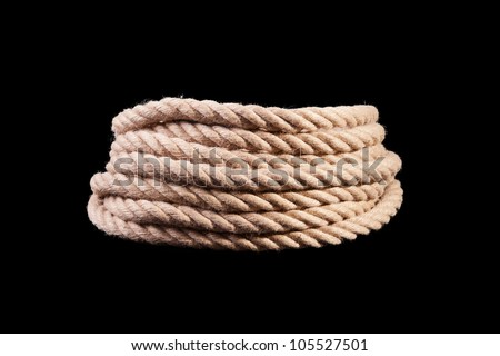 roll of rope isolated on black