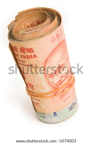 Roll of rupees - stock photo