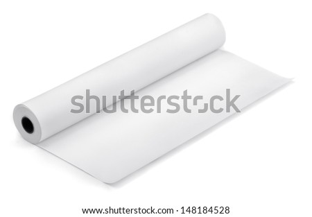 Roll of thermal fax paper isolated on white ストックフォト ©