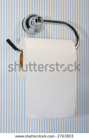 Roll of toilet paper against a pinstriped wall - stock photo