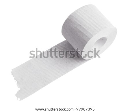 Roll of toilet paper on a white background