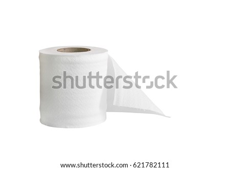 Roll of toilet paper or tissue isolated on white #621782111