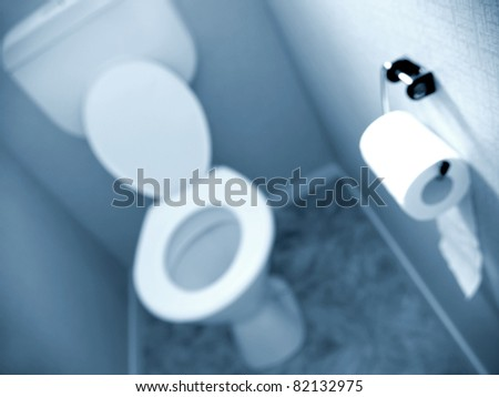 Roll of toilet tissue on wall of toilet
