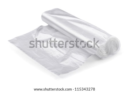 Roll of transparent packaging plastic bags isolated on white
