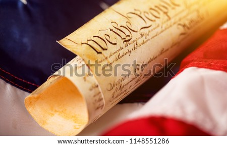 Roll of vintage US Constitution, Patriotism concept