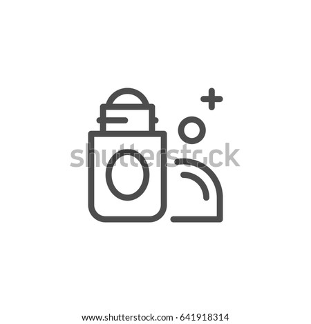 Roll on deodorant line icon isolated on white