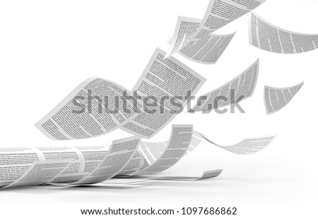 Roll printing. Flying printed sheets of paper. 3d illustration