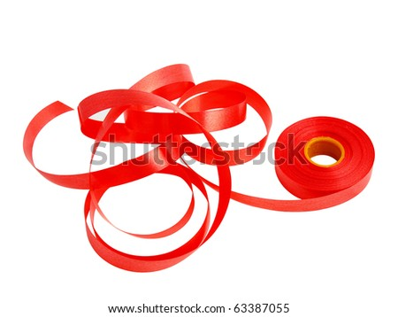 roll red plastic ribbon on white background stock photo 63387055 shutterstock