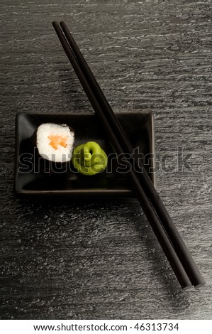 roll sushi and chopstick