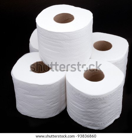 roll tissue paper on black background