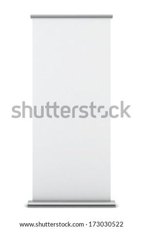 Roll up banner. 3d illustration on white background