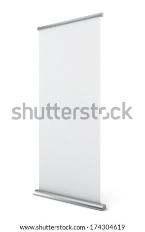 Roll up banner 3D illustration on white background