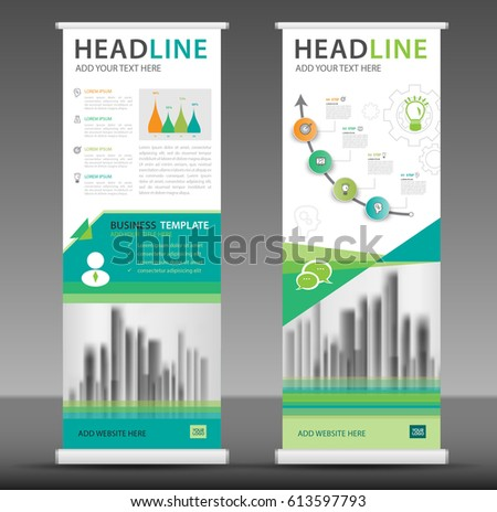 Roll up banner stand template design, business brochure flyer, infographics, presentation, advetisement, marketing, ads, poster, polygon backgrond #613597793