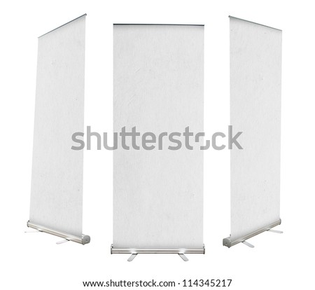 Roll up banner with paper canvas texture, isolated on white background (Save Paths For design work) #114345217