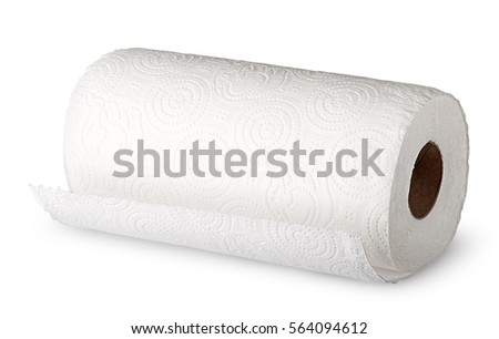 Roll white paper towels horizontally isolated on white background