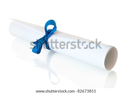 roll white paper with blue tape