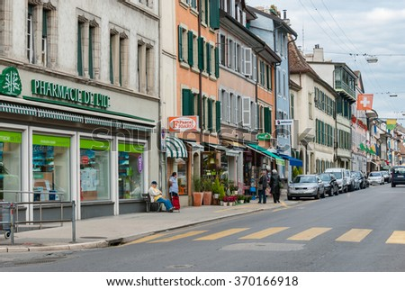 ROLLE,  SWITZERLAND - Sep 29, 2010: Center of ancient village  Beautiful city located on Lake Geneva Swiss lakeshore, where many wealthy and rich people owns apartments and houses