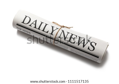 Rolled Business Newspaper with the headline News isolated on white background, Daily Newspaper mock-up concept
