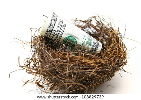 rolled cash in a nest, on white - retirement concept