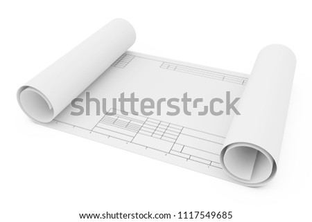 Rolled Drawing Template Paper on a white background. 3d Rendering
