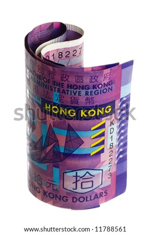 Rolled Hong Kong currency isolated on white background