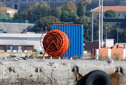 Rolled industrial firehose at Haydarpasa shipyar in Istanbul.
