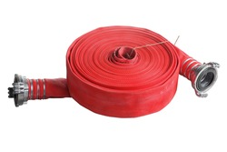 Rolled into a roll, red fire hose with aluminum connective couplings, Isolated on white background.