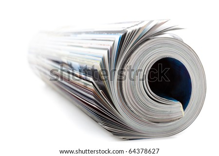 rolled magazine isolated on white