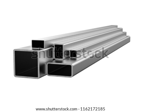 Rolled metal products. Galvanized steel tube. 3d illustration Foto stock ©