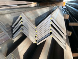 Rolled metal, Stack of angle steel in the factory.thailand
