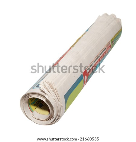 Rolled newspapers isolated on white.