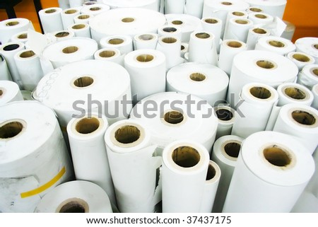 Rolled paper in printing house