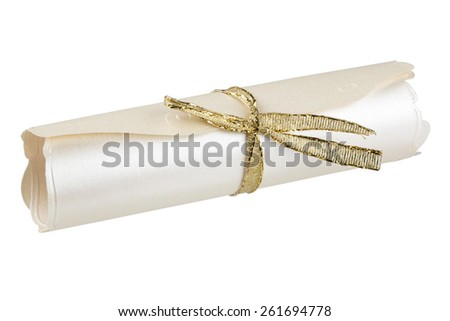Rolled parchment with golden ribbon isolated over white background with clipping path